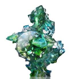 "LIULI Crystal Art Crystal Two Fish Sculpture, ""Joyful Harmony"""