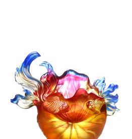 "LIULI Crystal Art LIULI Crystal Fish and Lotus Leaves, ""Precious Harmony"" in Amber Gold Red"
