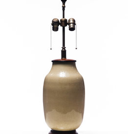 Lawrence & Scott Legacy Lagom Lantern Lamp in Cream Crackle with Rosewood Base (NYC Sample)