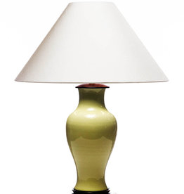 Lawrence & Scott Legacy Gabrielle Baluster Porcelain Lamp in Avocado with Rosewood Base
