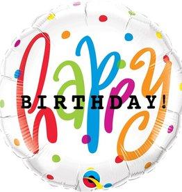 "Qualatex 18"" Happy Birthday Dots"