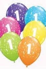 "Qualatex 11"" #1 Stars RND FESTIVE AST 50CT"