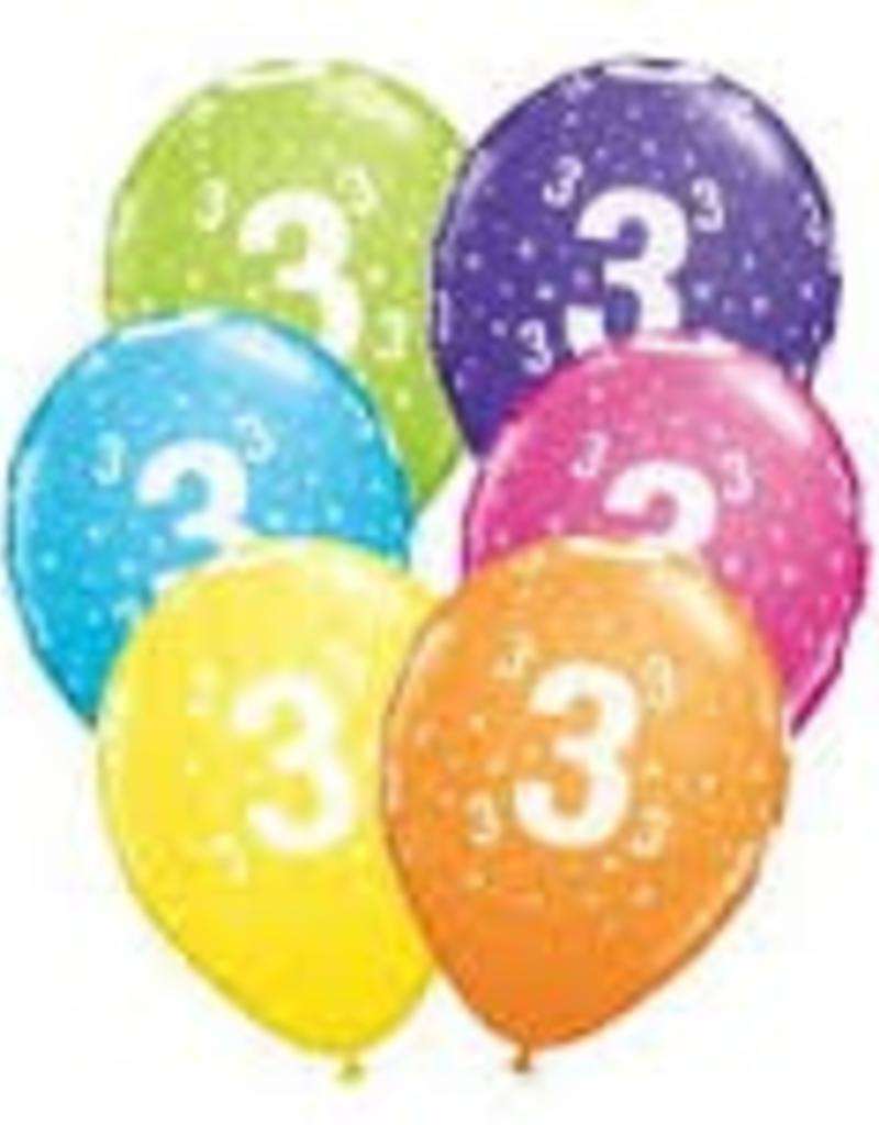"Qualatex 11"" #3 Stars RND FESTIVE AST 50CT"