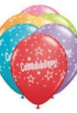"Qualatex 11"" Congratulations Star Patterns  FESTIVE AST 50CT"
