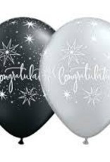 "Qualatex 11"" Congratulations Elegant Pearl BLACK&SILVER 50CT"