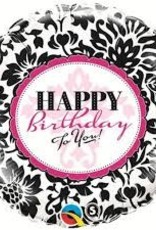 "Qualatex 18"" BIRTHDAY ELEGANT DAMASK"