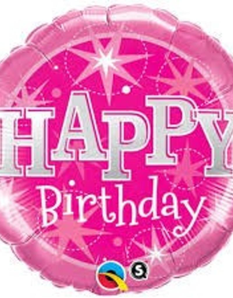 "Qualatex 18"" Birthday Pink Sparkle"
