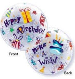 "Qualatex 22"" Bubble - Birthday Make A Wish"