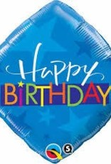 "Qualatex 18"" Birthday Blue Stars triangle"