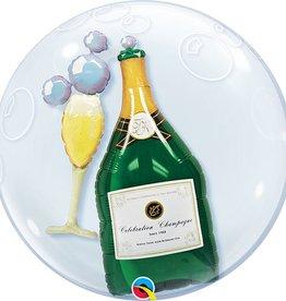 """24"""" Double Bubble - Bubbly Champange Bottle & Glass"""