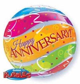 "Qualatex 22"" Bubble - Anniversary Colourful Bands"