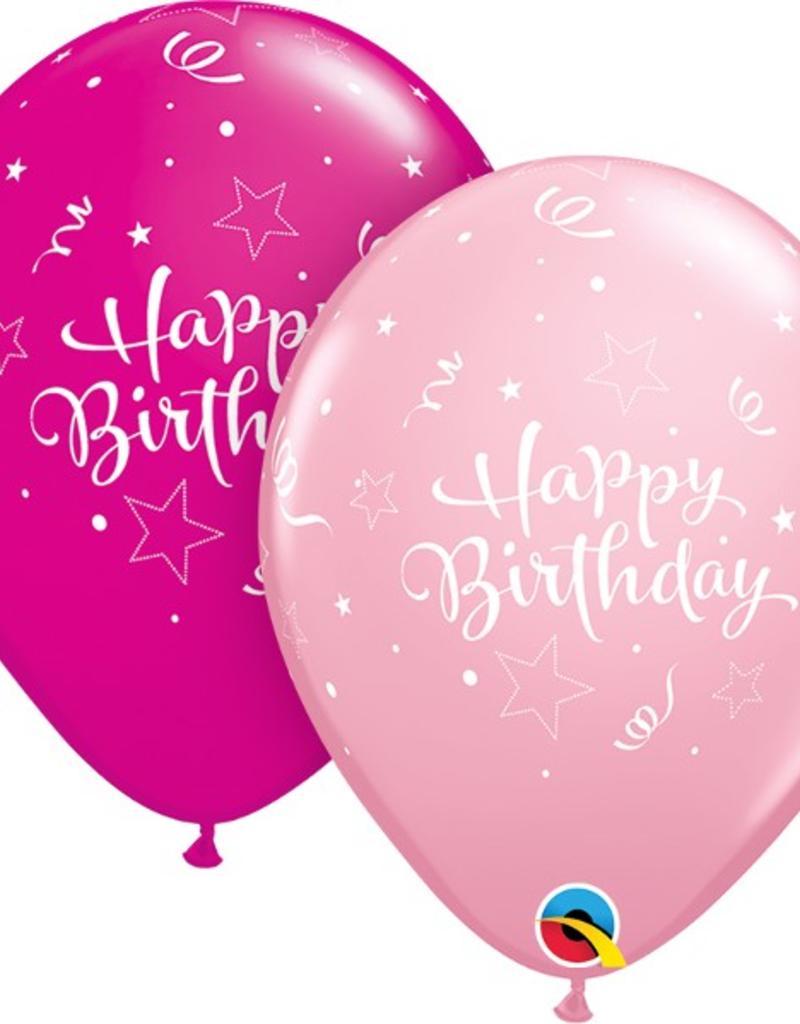 """Qualatex 11"""" Round Pink & Wild Berry Birthday Shining Star 50 ct"""