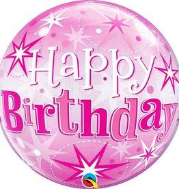 "Qualatex 22"" Bubble - Birthday Pink Starburst Sparkle"