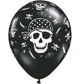 "Qualatex 11"" Pirate Skull & Cross Bones RND ONYX BLACK 50CT"