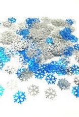 3D CONFETTI BLUE AND WHITE SNOWFLAKES