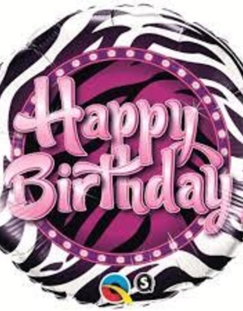 "Qualatex 18"" Birthday Zebra Print"