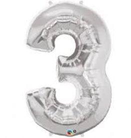 """Qualatex 34"""" Number Three - Silver"""