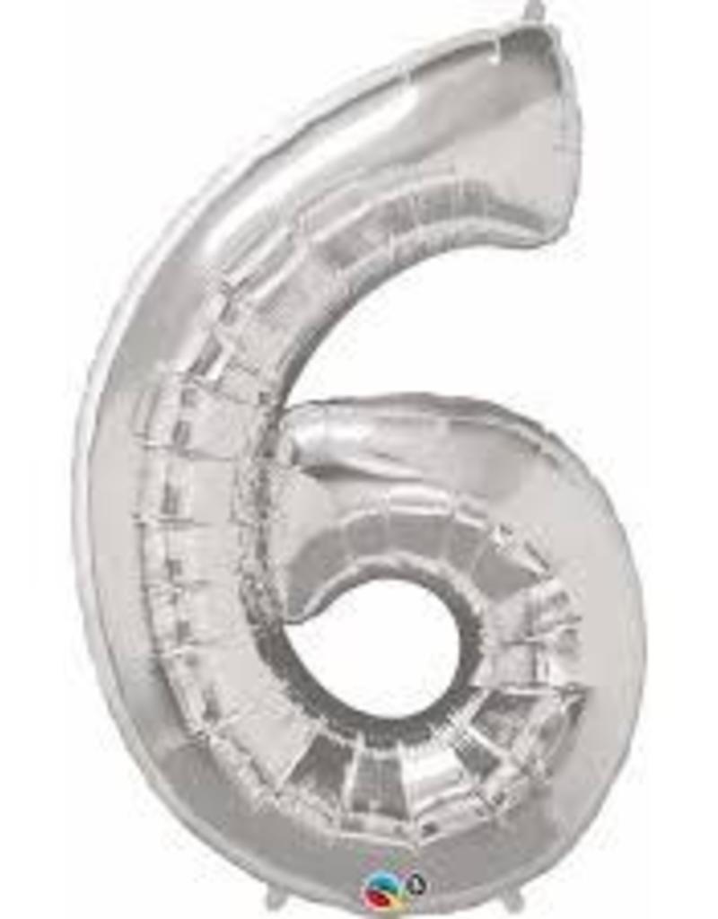 "Qualatex 34"" Number Six - Silver"