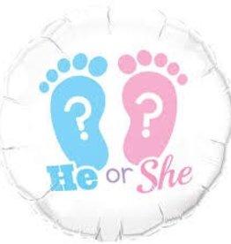 """Qualatex 18"""" He Or She ? Footprints"""