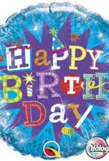 "Qualatex 18"" Birthday Typography Blue"