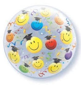 "Qualatex 22"" GRAD SMILE FACES BUBBLE"