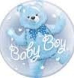 "Qualatex 24"" Double Bubble - Baby Boy Blue Bear"
