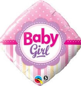 """Qualatex 18"""" BABY GIRL DOTS AND STRIPES"""