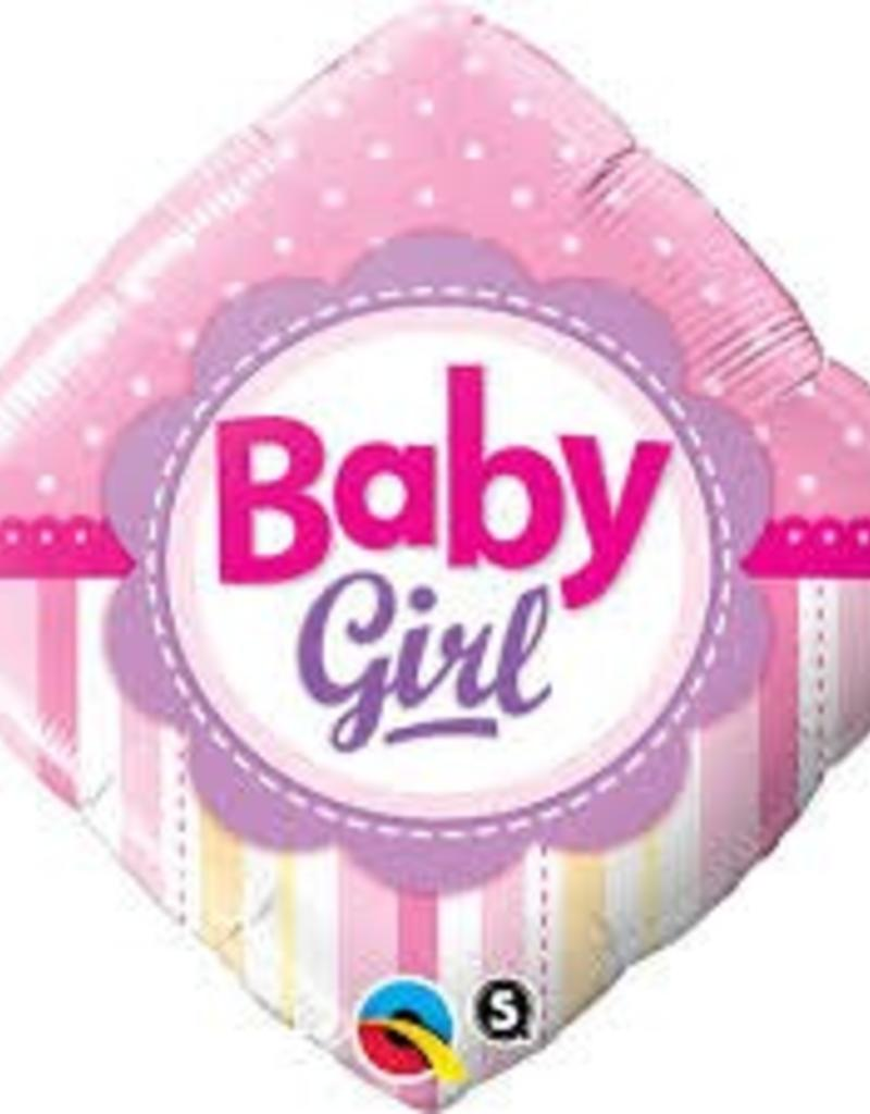 "Qualatex 18"" BABY GIRL DOTS AND STRIPES"