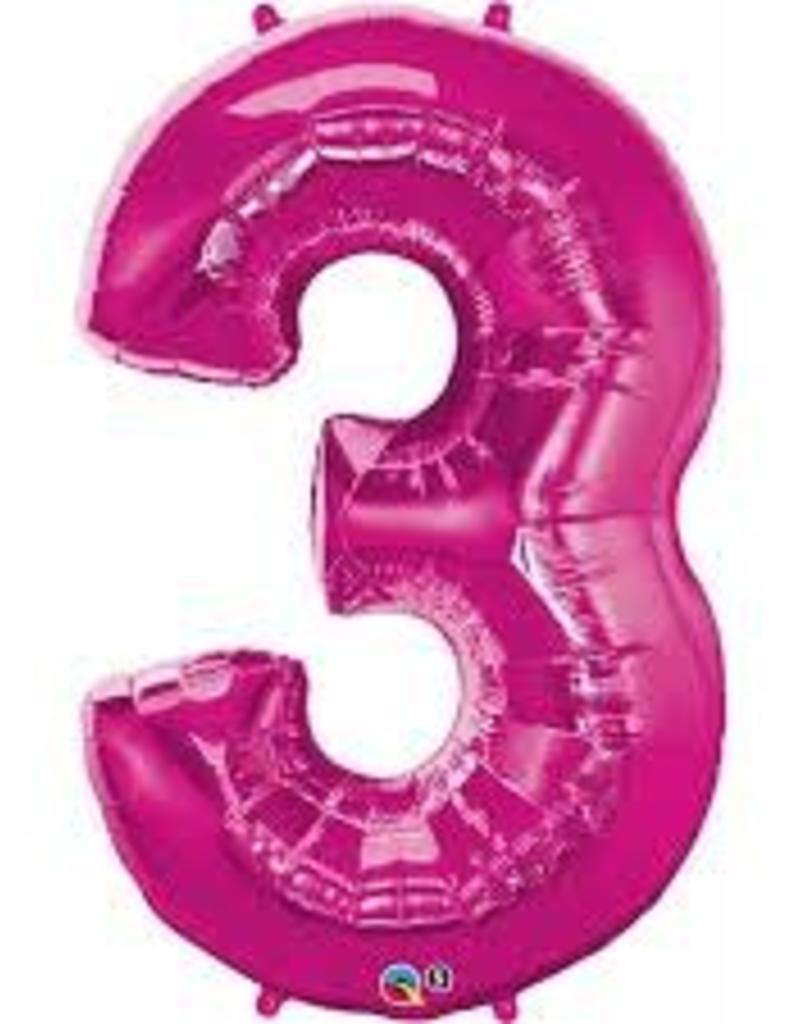 "Qualatex 34"" Number Three - Magenta"