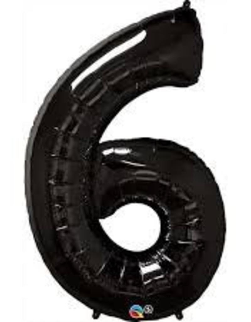 "Qualatex 34"" Number Six - Onyx Black"