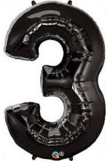 "Qualatex 34"" Number Three - Onyx Black"