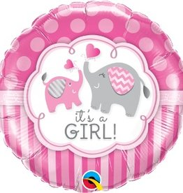 "Qualatex 18 "" IT'S A GIRL ELEPHANT"