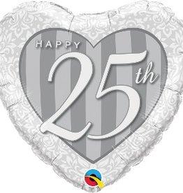 "Qualatex 18"" Heart Happy 25th Damask Heart"