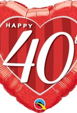"Qualatex 18"" Happy 40th Damask Heart"