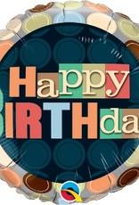 "18"" RND Happy Birthday DOTS"