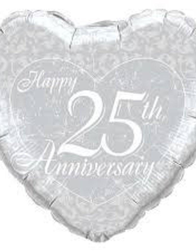 """18"""" Happy 25th Anniversary Heart"""