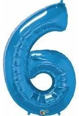 "Qualatex 34"" Number Six - Sapphire Blue"