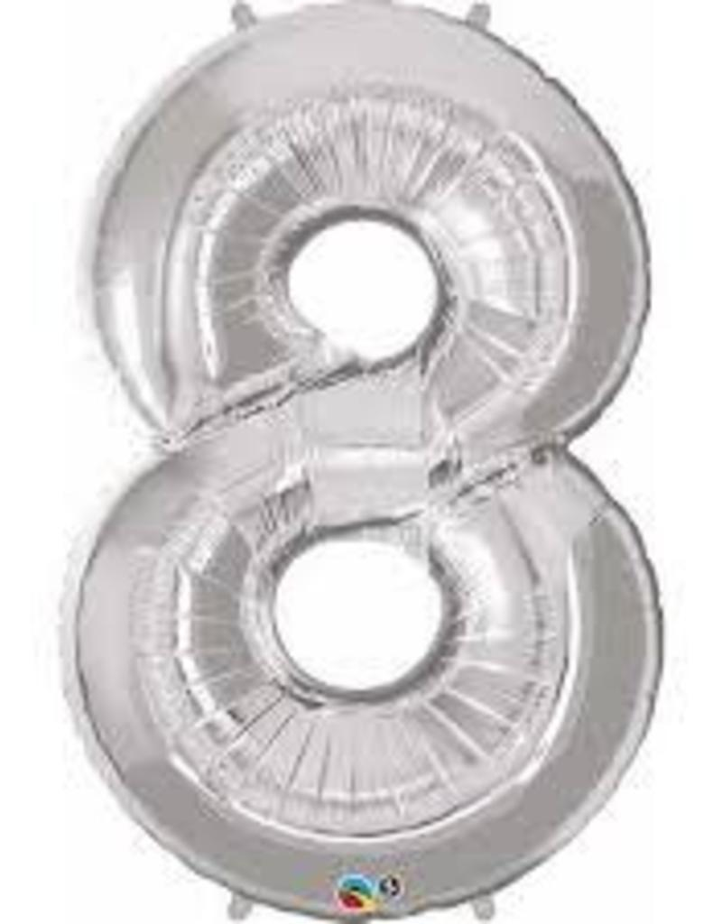 """Qualatex 34"""" Number Eight - Silver"""