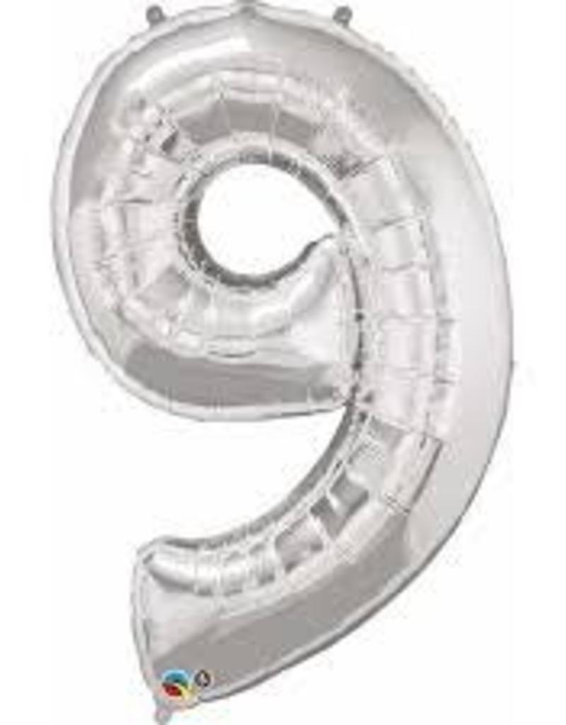 "Qualatex 34"" Number Nine - Silver"