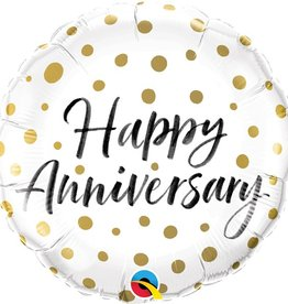 Qualatex Happy Anniversary Gold Dots