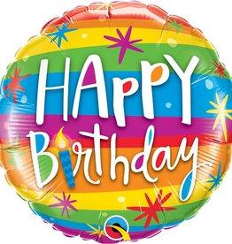 "Qualatex 18"" Birthday Rainbow Stripes"
