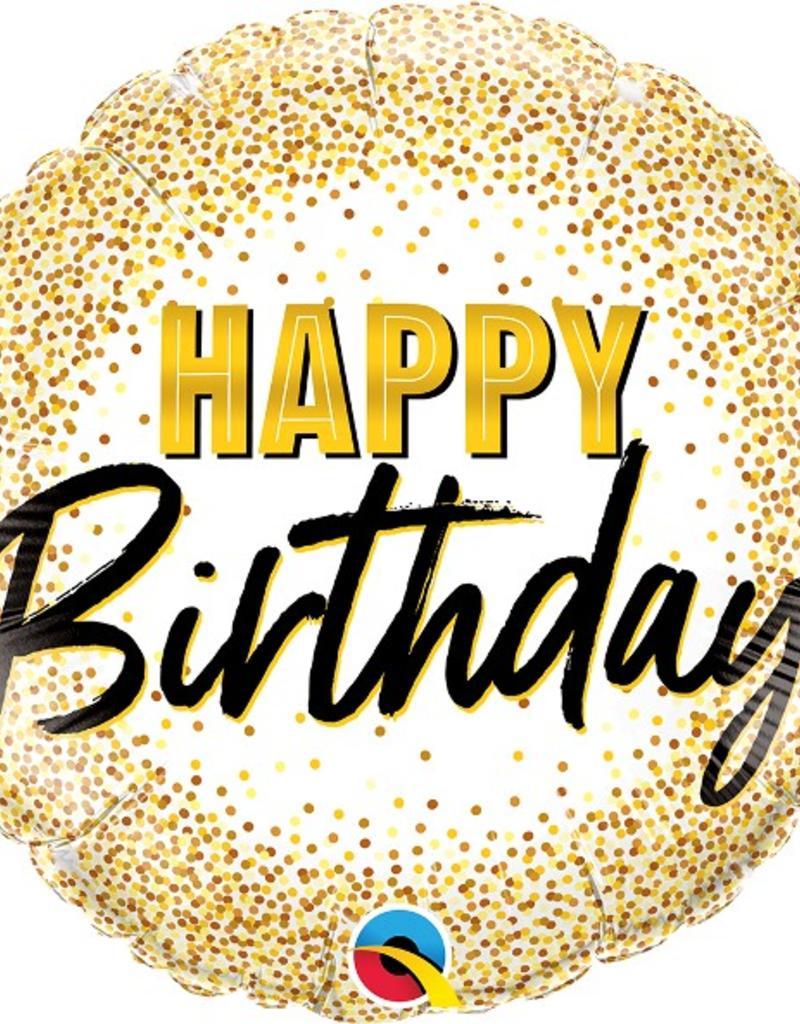 """Qualatex 18"""" Birthday Gold Glitter Dots"""