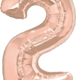 """Qualatex 34"""" Number Two - Rose Gold"""
