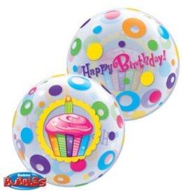 "Qualatex 22"" Birthday Bubble Cupcake & Dots"