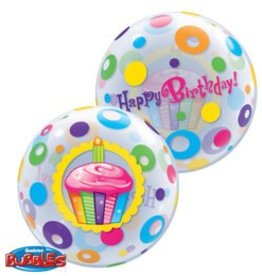 "Qualatex 22"" Bubble - Birthday Cupcake & Dots"