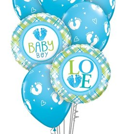 Baby Boy Foot Prints bouquet set
