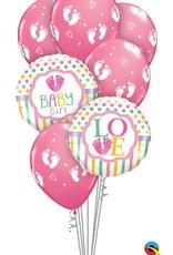 Qualatex Baby Girl Foot Prints bouquet set