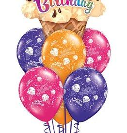 Qualatex Happy Birthday Ice Cream Cone bouquet set