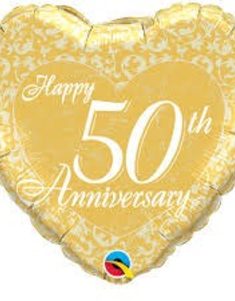 "Qualatex 18"" Happy 50th Anniversary Heart"