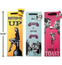 "Retro Wine Bottle Gift Bag, 14.25""x4.75""x3"""